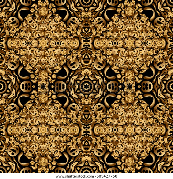 Seamless pattern with golden elements for design in retro style. Universal pattern for wallpapers, textile, fabric, wrapping paper, packaging box etc. Vintage pattern on black background.