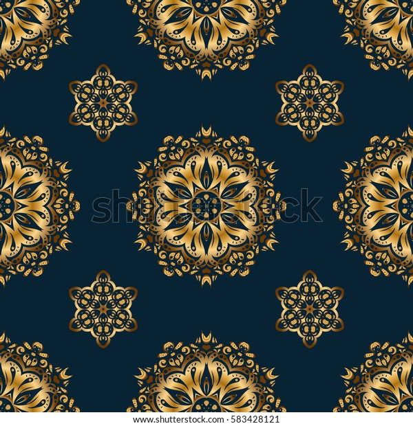 Seamless pattern with golden elements. Gold grid on a blue background.