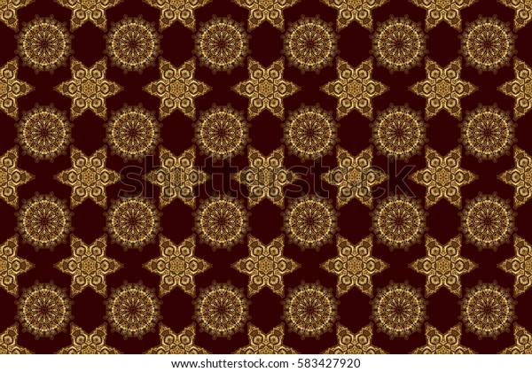 Seamless pattern of golden elements on a brown backdrop. Kit for decorating festive greeting cards. Golden glitter ornaments on a brown background with glowing lights.