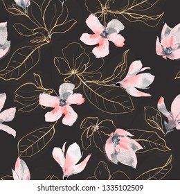Seamless pattern with golden flowers and leaves in black background. Watercolor dark illustration.