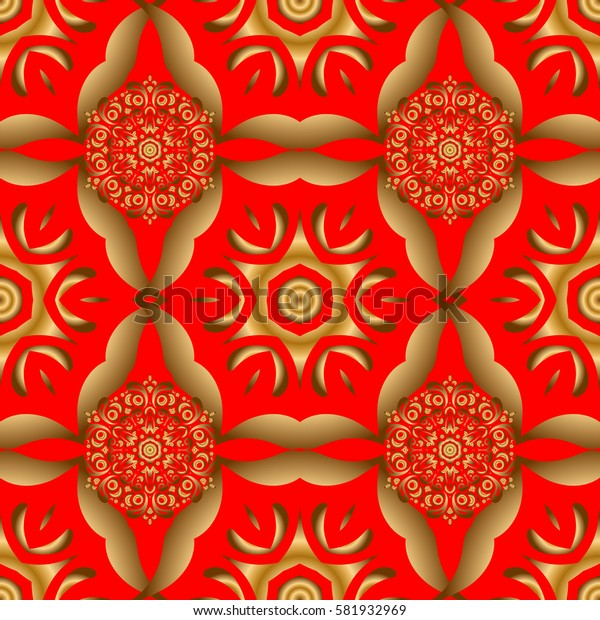 Seamless pattern with golden grid on a red background. Square composition with golden vintage ornament.