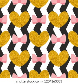 Seamless pattern with golden hearts and pastel pink bows on a black and white zig zag stripes background.
