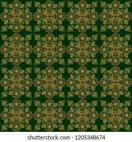 Seamless pattern of golden textured curls. Oriental style arabesques on a green backdrop. Openwork weaving delicate, golden background. Brilliant lace, stylized flowers, paisley.