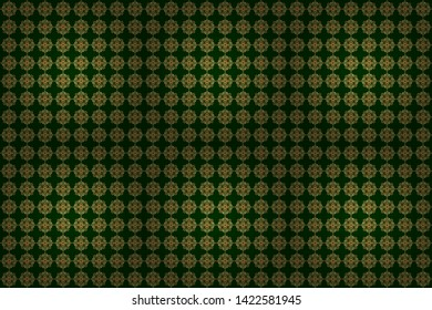 Seamless pattern of golden textured curls. Oriental style arabesques on a green backdrop. Raster brilliant lace, stylized flowers, paisley. Openwork weaving delicate, golden background.