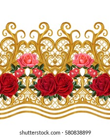 Seamless pattern. Golden textured curls. Oriental style arabesques. Brilliant lace, stylized flowers. Openwork weaving delicate, golden background, composition, garland of red roses.