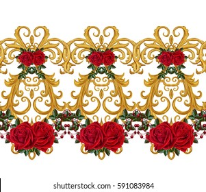 Seamless pattern. Golden textured curls. Oriental style arabesques. Brilliant lace, stylized flowers. Openwork weaving delicate, golden background, composition, garland of red roses