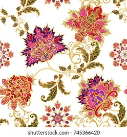 Seamless pattern. Golden textured curls. Brilliant lace, stylized flowers. Openwork weaving delicate, golden background, Paisley.