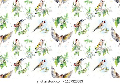 Seamless pattern with goldfinches. Watercolor hand drawn illustration