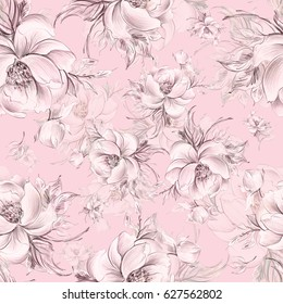 Seamless pattern of graceful roses with buds Q