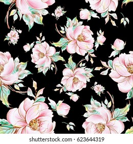 Seamless pattern of graceful roses with buds-3