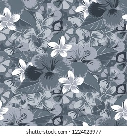 Seamless pattern of gray, blue and green hibiscus floral background. Sketch of many gray, blue and green flowers. Hand drawn seamless flower illustration.