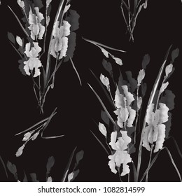Seamless pattern of gray flowers of iris on the black background. Watercolor