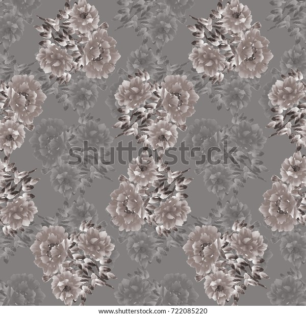 Seamless pattern of gray flowers on a gray background. Floral background Watercolor