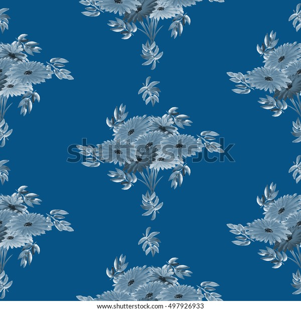 Seamless pattern of gray leaves and gray flowers arranged in staggered rows on a deep blue background. Geometric. Watercolor.