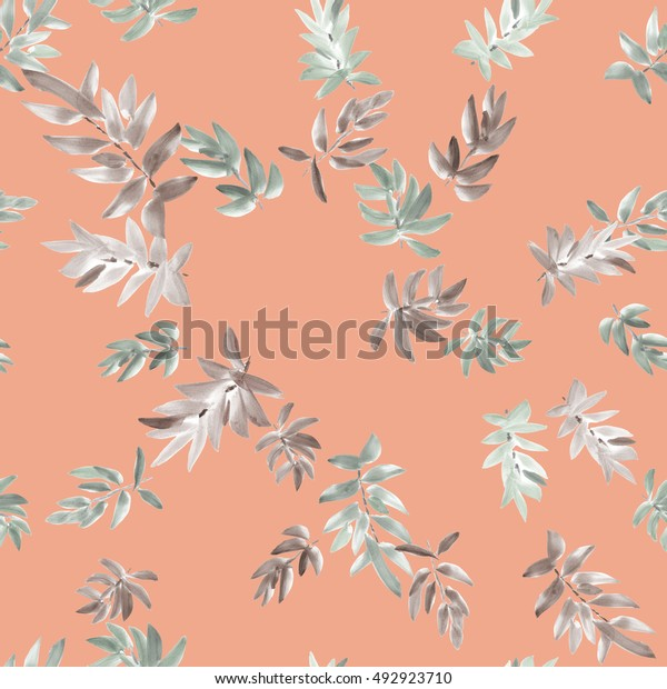 Seamless pattern gray leaves on a pink background. Watercolor