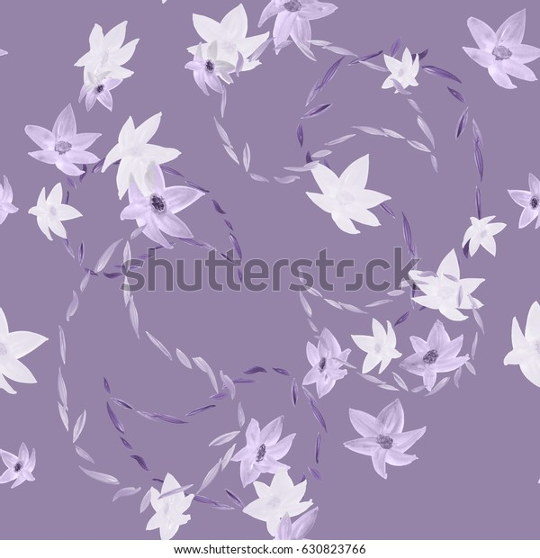 Seamless pattern of gray and violet flowers with paisley on a violet background. Watercolor