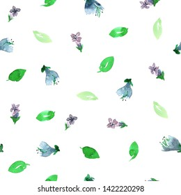 Seamless pattern with green basil flowers and leaves. Loose watercolor style