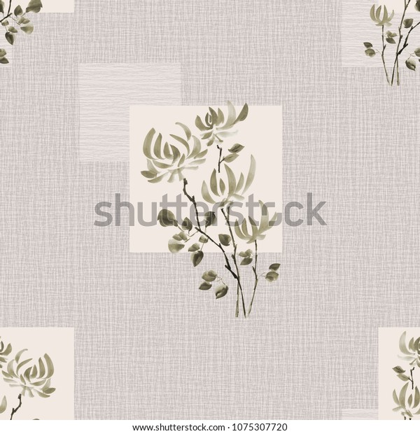 Seamless pattern of green flowers of chrysanthemum on a beige linen  background with geometric figures. Watercolor