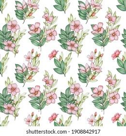 Seamless pattern with green foliage and pink flowers