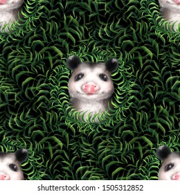 Seamless pattern with green grass and cute opossums