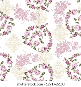 seamless pattern with green leafy pink roses with heart on white background