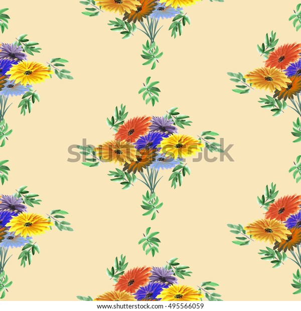 Seamless pattern of green leaves and bright flowers arranged in staggered rows on a beige background. Geometric. Watercolor.