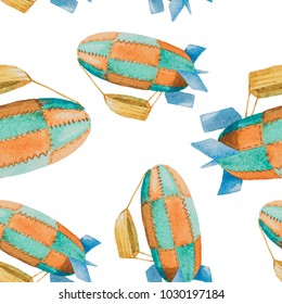 Seamless pattern of green and orange airships with baskets painted in watercolor on a white background