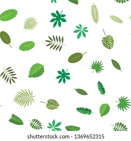 Seamless pattern with green tropical leaves. Floral background, illustration on white background.