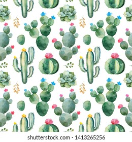Seamless pattern with green watercolor cactus,succulents and multicolored flowers.Nature background.Perfect for your project,wedding,print,packaging design,wallpaper,pattern,texture and more