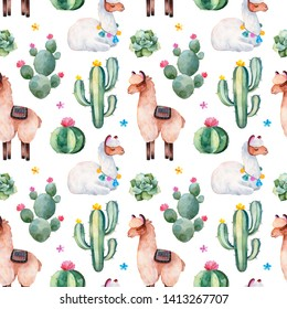 Seamless pattern with green watercolor cactus,succulents, multicolored flowers and cute llamas.Nature background.Perfect for your project,wedding,print,packaging design,wallpaper,pattern,texture.