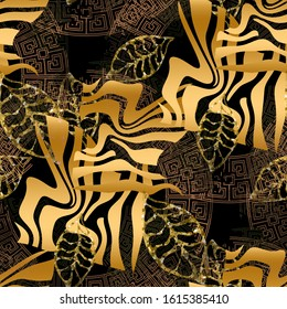 Seamless pattern grunge design. Dark background with golden leaves, zebra stripes and watercolor effect. Textile print for bed linen, jacket, package design, fabric and fashion concepts.