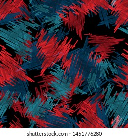 Seamless pattern grunge design. Inked background with strokes and watercolor effect. Textile print for bed linen, jacket, package design, fabric and fashion concepts.