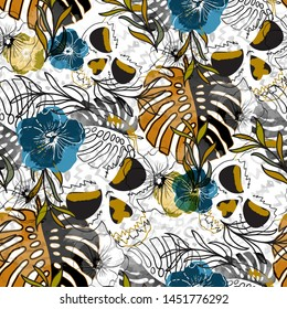 Seamless pattern grunge design. Tropic background skulls, malva flowers and monstera leaves with watercolor effect. Textile print for bed linen, jacket, package design, fabric and fashion concepts.