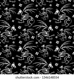 Seamless pattern. A gryphon skeleton among flowers. Bestiary. Legendary animals. Great for printing on T-shirts, for tattoos and more. Ideal for decoration of Halloween and the Day of the dead.