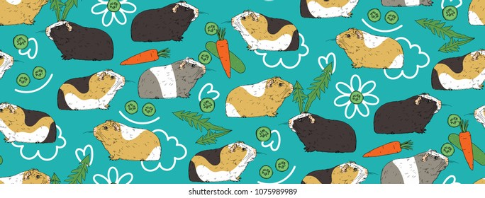 Seamless pattern with Guinea pig. Colorful cavia. Background with cute cartoon guinea pig and food - carrot, cucumber and dandelions greens. Pattern for kids, fabric, textile, wallpaper.