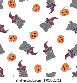seamless pattern for Halloween with cat and pumpkin.