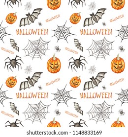 Seamless pattern. Halloween hand drawn watercolor illustration isolated on white background. Pumpkin, spider, bat, spider's web