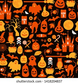Seamless pattern of halloween with pumpkins and icons.