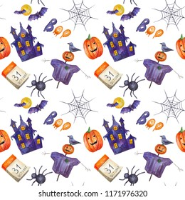 seamless pattern for Halloween. Pumpkins, spiders, bats and house of fear