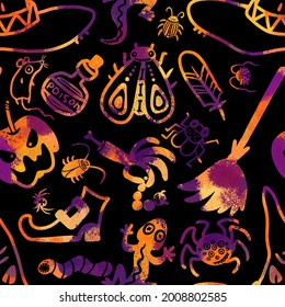seamless pattern in halloween style. Spider, moth, poison, potion, broom, witch hat, severed hand, millipede, beetle, poisoned apple, rat, boot, feather