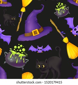 Seamless pattern for Halloween. A witch's hat, a broom, a wild black cat, a cauldron of potions, a bat. Pattern with black background.