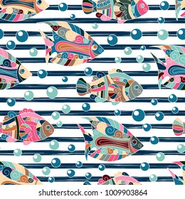 Seamless Pattern with hand draw zentangle Exotic Fish and Horizontal Stripes. Summer Print for Fabric, Textile, Dress, Wallpaper, Tile, Wrapping. Travel Ocean Background. Hand Drawn Fish Illustration.