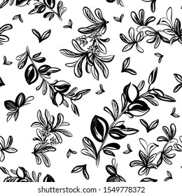 Seamless pattern with hand drawing argan tree,argan leaves,nutes,flowers.Black and white graphic.Repeatable background for fabric and prints.