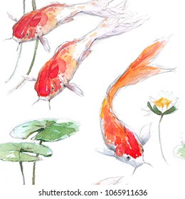 Seamless pattern with hand drawing watercolor gold koi fish , aquarium, oriental style, water lilies, sketches.