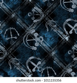 Seamless pattern with hand drawn anchors. Marine background with tartan lines and watercolor effect. Textile print for bed linen, jacket, package design, fabric and fashion concepts