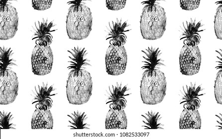seamless pattern of hand drawn black-and-white toned pineapples / trendy tropical summer design