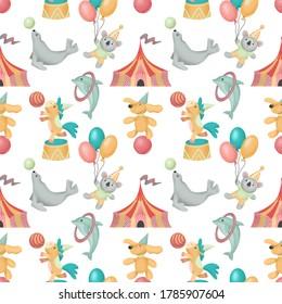 Seamless pattern of hand drawn circus animals (dog, horse, coala, seal), illustration on white background