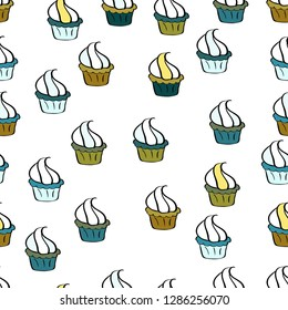 Seamless pattern with hand drawn delicious cupcakes on white, neutral and black. Beautiful food design elements, perfect for prints and patterns.