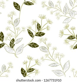Seamless pattern with hand drawn flowers and berries.