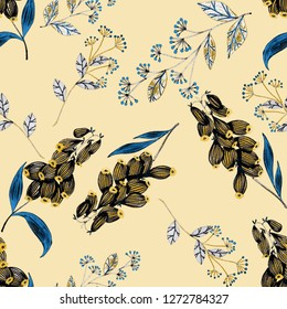 Seamless pattern with hand drawn flowers and berries